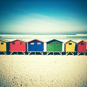 Beach Huts Framed Prints - Beach Huts Muizenberg Retro Framed Print by Neil Overy