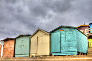 Pensioner Prints - Beach Huts On A Stormy Day Print by Fizzy Image