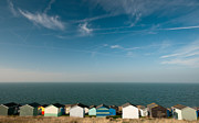 Cloudscapes Posters - Beach huts Whitstable Poster by Michalis Ppalis