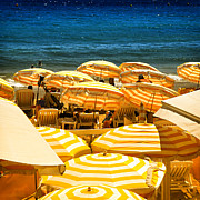 Summer Chairs Prints - Beach in Cannes  Print by Elena Elisseeva