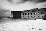 Dry Tortugas Prints - Beach In Front Of Fort Jefferson Brick Walls With Moat Dry Tortugas National Park Florida Keys Usa Print by Joe Fox