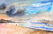 Atlantic Beaches Painting Prints - Beach in Lanzarote Print by Miki De Goodaboom