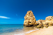 Lapping Prints - Beach In The Algarve Portugal Print by Christopher and Amanda Elwell