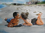 Playing Painting Originals - Beach Kisses by Freda Nichols