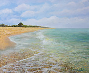 Shoreline Paintings - Beach Krapets by Kiril Stanchev