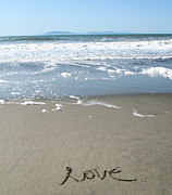 Romance Photo Prints - Beach Love Print by Linda Woods
