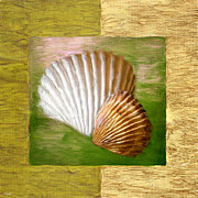 Shell Pattern Digital Art Framed Prints - Beach Memoirs Framed Print by Lourry Legarde