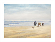 Wild Horse Paintings - Beach Natives of Corolla by Carl Hartsfield