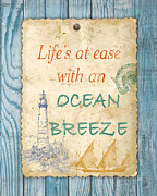 Beach Towel Prints - Beach Notes-C Print by Jean Plout