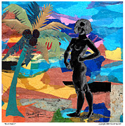 Harlem Mixed Media Prints - Beach Nude 2 Print by Everett Spruill