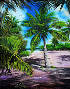 Beach Scene Paintings - Beach Palm Tree by Earl Butch Curtis