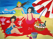 Tea Prints - Beach party Print by Gea Scheltinga