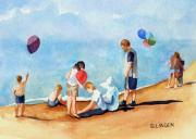 Party Birthday Party Paintings - Beach Party by Sandy Linden