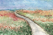 Watercolor Card Prints - Beach Path Print by Linda Woods
