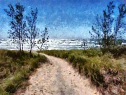 Lake Michigan Digital Art Metal Prints - Beach Path Metal Print by Michelle Calkins