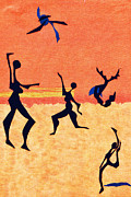 Fun Tapestries - Textiles Prints - Beach Players Print by Ruth Ash