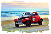 Ponce Mixed Media Posters - Beach Race Car 28 Poster by Deborah Boyd