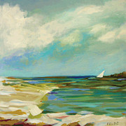 Karen Fields - Beach Sailboat Calm
