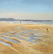 Walking On Sand Prints - Beach Strollers  Print by Timothy  Easton