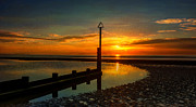 Beach Sunset Print by Adrian Evans