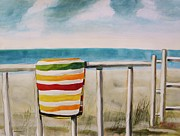 Beach Towel Drawings Prints - Beach Towel Print by John  Williams