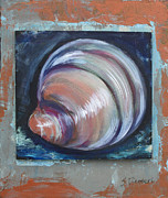 Shell Texture Painting Prints - Beach Treasure II Print by Sheila Diemert