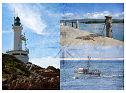 Lighthouse Digital Art - Beach Triptych 2 by Linda Lees