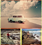 1970s Prints - Beach Triptych 3 Print by Linda Lees