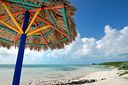 Beach Umbrella At Coco Cay Print by Amy Cicconi