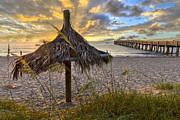 Florida Bridges Prints - Beach Umbrella Print by Debra and Dave Vanderlaan