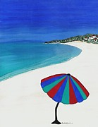 St Barbara Framed Prints - Beach Umbrella Dreaming Framed Print by Barbara St Jean