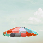Charming Cottage Posters - Beach Umbrella Poster by Elle Moss