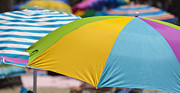 Kids Playing At Beach Prints - Beach Umbrella Rainbow 1 Print by Scott Campbell