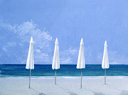 Horizon Paintings - Beach umbrellas by Lincoln Seligman