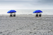 Beach Umbrellas On A Cloudy Day Print by Thomas Marchessault