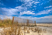 Beach Under Blue Skies Print by Debra and Dave Vanderlaan