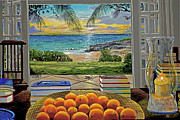Caribbean Sea Painting Framed Prints - Beach View Framed Print by Carey Chen