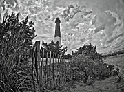 Barnegat Lighthouse Framed Prints - Beach View of Barney in black and white Framed Print by Mark Miller