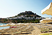Lindos Posters - Beach View of Lindos Poster by Lorraine Devon Wilke