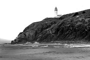Haybales Photo Metal Prints - Beach View of North Head Lighthouse Metal Print by Robert Bales