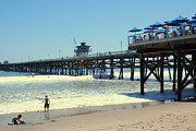 San Clemente Digital Art Framed Prints - Beach View With Pier 1 Framed Print by Ben and Raisa Gertsberg
