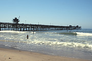 San Clemente Digital Art Framed Prints - Beach View With Pier 2 Framed Print by Ben and Raisa Gertsberg