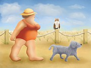 Dog Cards Prints - Beach walk Print by Marlene Watson
