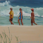 Hamptons Painting Posters - Beach Walk Poster by Sally Breen