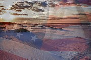 Shrimp Boat Prints - Beach with Flag Print by Michael Thomas
