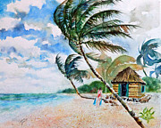 Beach Hut Paintings - Beach with Palm Trees by Carolyn Jarvis