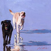 Retrievers Paintings - Beachball by Molly Poole