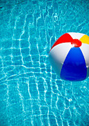 Primary Colors Prints - Beachball on Pool Print by Amy Cicconi