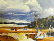 Gippsland Prints - Beached Boat and Fishing Boat at Gippsland Lake Print by Pamela  Meredith