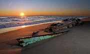 Pea Island Prints - Beached Boat at Sunrise I - Outer Banks Print by Dan Carmichael